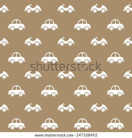 Seamless baby pattern. Many small white cars on brown background - stock vector