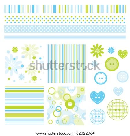 Seamless baby patterns with flowers  and lines. Lovely templates for scrapbook, craft, home projects, invitations, baby shower, party announcements. Nice modern decorative textures and design elements - stock vector