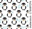 Seamless baby penguin scandinavian polar illustration background pattern in vector - stock vector