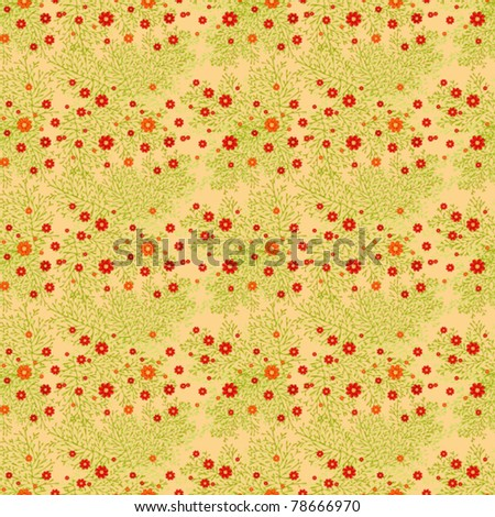 Seamless background abstract leaflets of red chamomiles