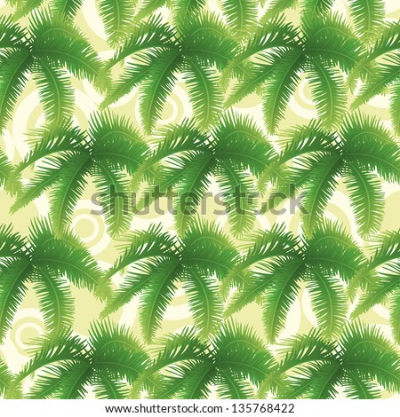 Seamless background, abstract pattern, green branches with leaves of palm trees and circles. Vector - stock vector