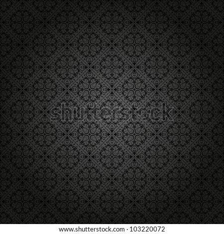 Seamless background baroque black - stock vector