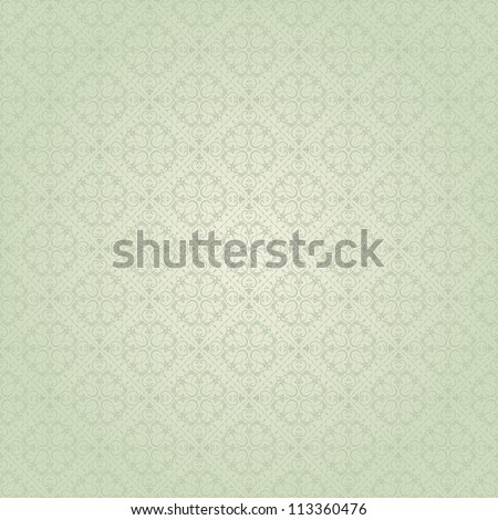 Seamless background baroque green - stock vector