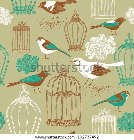 Seamless background. Birds out of their cages concept vector