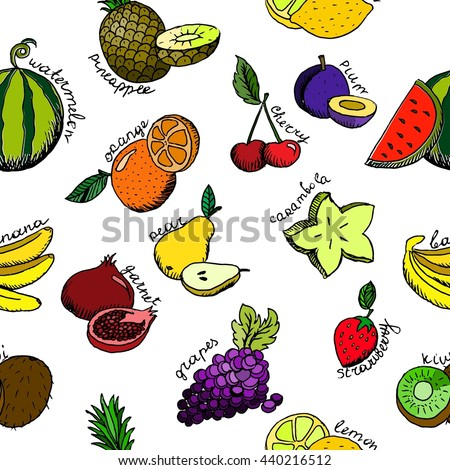 Seamless background cartoon fruit icons. Hand drawn vector stock illustration.