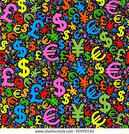 seamless background characters of world currencies - stock vector