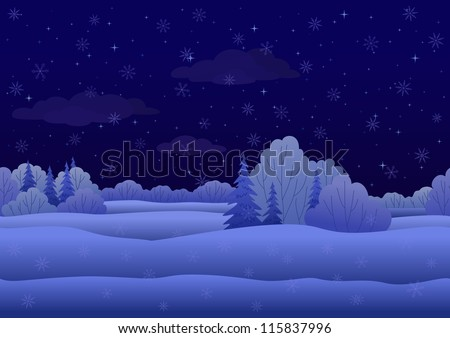 Seamless background, Christmas landscape: night winter snowy forest. Vector