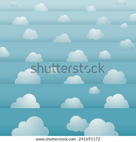 seamless background design with cloudy bright sky - stock vector