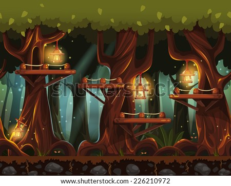Seamless background fabulous night forest with lanterns, fireflies and wooden bridges in the trees. - stock vector