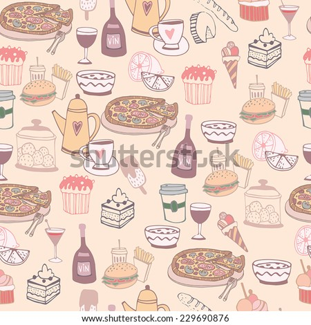 Seamless background food with wine, pizza, tea, cupcake, coffee  - stock vector