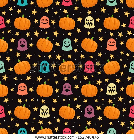 seamless background for Halloween with pumpkins, cute ghosts and stars. vector illustration  - stock vector