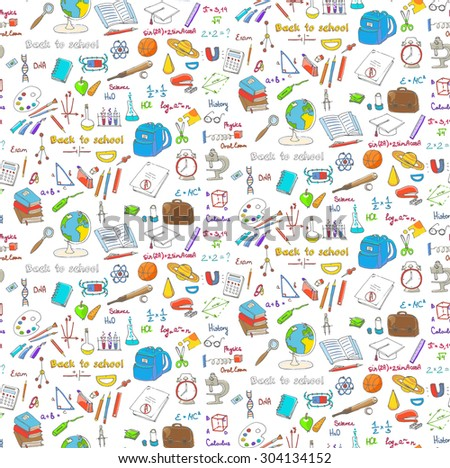 Seamless background freehand drawing school items, Back to School. Hand drawing set of school supplies sketchy doodles vector illustration, science, physics, calculus, oral exam, history, biology - stock vector