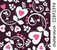 Seamless background from a hearts ornament, Fashionable modern wallpaper or textile - stock vector