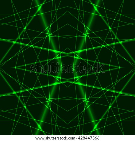 Seamless Background from Green Laser Beams. Chaotic green laser beams. Shining red laser rays. Net made from green x-rays. - stock vector