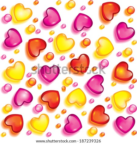 Seamless background from hearts and beads of glass - stock vector