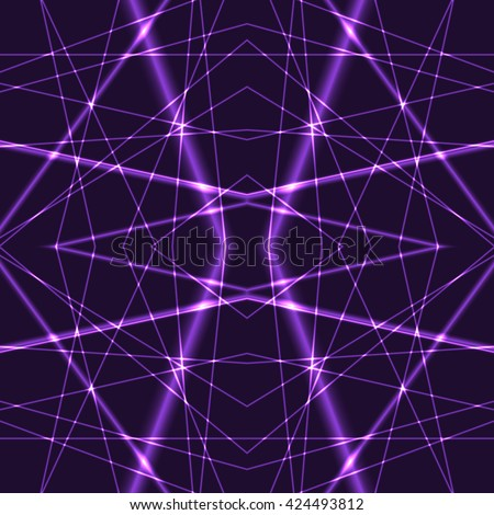 Seamless Background from purple Laser Beams. Chaotic violet laser beams. Shining lilac laser rays. Net made from red x-rays. - stock vector