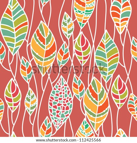 Seamless background from the leaves. Can be used for wallpaper, pattern fills, web page background, surface textures, textile. Hand-drawn vector pattern.