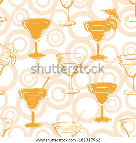 Seamless background, glasses with a drink, orange silhouettes and circles. Vector - stock vector
