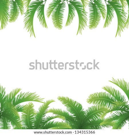 Seamless background, green branches with leaves of palm trees. Vector - stock vector
