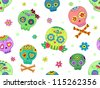 Seamless Background Halloween Illustration Featuring Colorful Sugar Skulls - stock vector