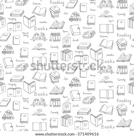 Seamless background Hand drawn doodle Books and Reading set Vector illustration Sketchy icons and elements Vector symbols of reading and learning Educational club illustration Education logo element - stock vector