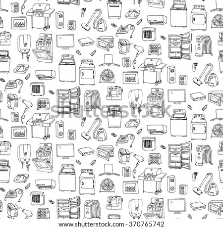 Seamless background hand drawn doodle Home appliance vector illustration Cartoon icons set Various household ?equipment Major appliances Consumer electronics Kitchenware Freehand vector sketches - stock vector