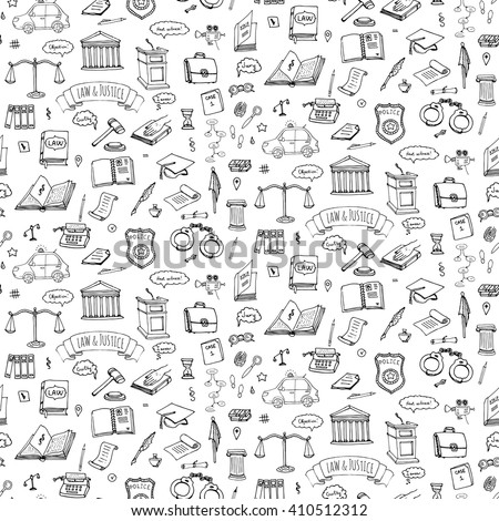 Seamless background Hand drawn doodle Law and Justice icons set. Vector illustration legal sketchy symbols collection Cartoon concept elements suitable for infographics, websites and print Court Crime - stock vector