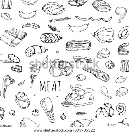 Seamless background Hand drawn doodle set of cartoon different kind of meat and poultry set. Vector illustration Sketchy food elements collection Lamb Pork Ham Mince Chicken Turkey Steak Bacon Sausage - stock vector