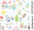 Seamless background - happy family. Sketch on notebook page - stock photo