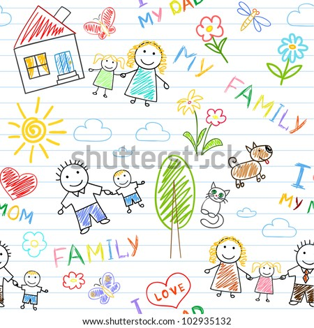 Seamless background - happy family. Sketch on notebook page - stock vector