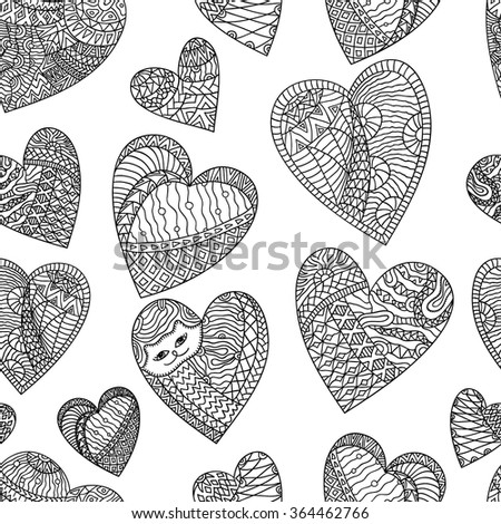 Seamless background - heart on a white background. Valentine's Day, wedding, love. Drawing by hand. Vector ornament. - stock vector