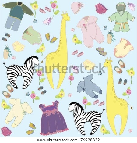 Seamless background.Illustration little childs dress and toys. Greeting card for the little boy and little girl. - stock vector