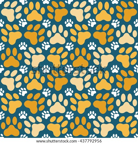 Seamless background illustration of cat paw prints - stock vector