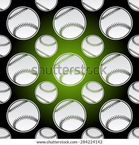 Seamless background illustration of repeating baseball balls - stock vector