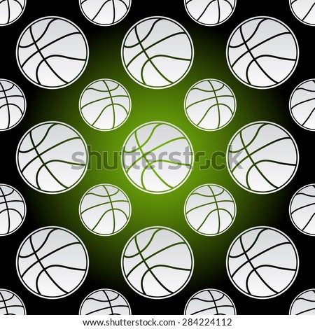 Seamless background illustration of repeating basketball balls - stock vector