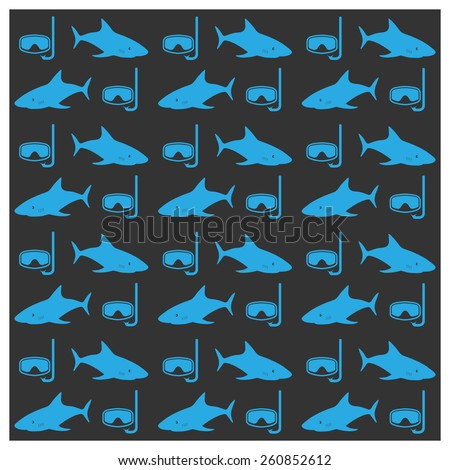 Seamless background image of sharks and underwater masks, vector illustration. - stock vector