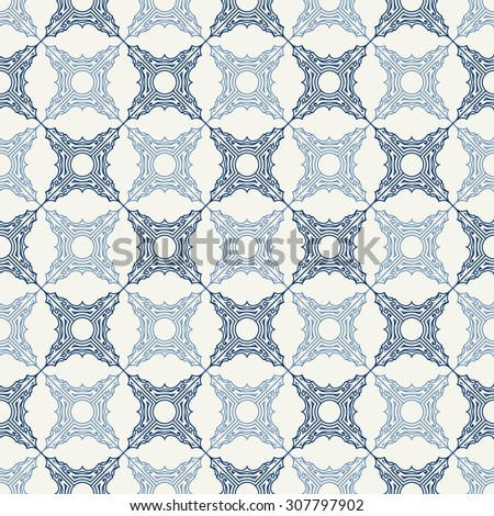 Seamless background in Arabic style. Blue tile patterns in white wallpaper for textile design. Traditional oriental decor - stock vector