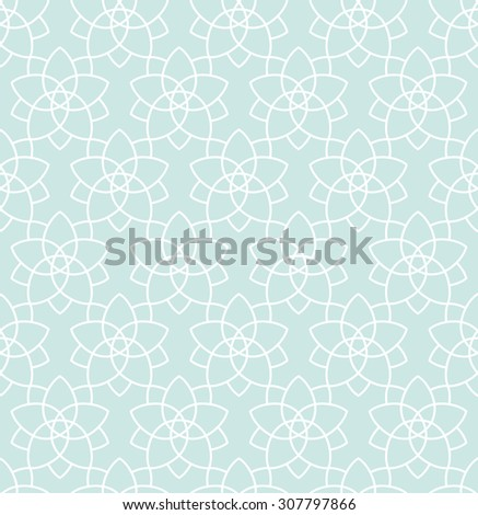 Seamless background in Arabic style. Blue wallpaper with patterns for design. Traditional oriental decor stars tile - stock vector