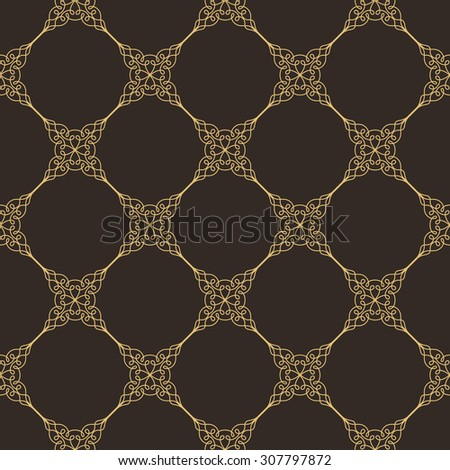 Seamless background in Arabic style. Gold patterns in dark wallpaper for textile design. Traditional oriental decor  - stock vector
