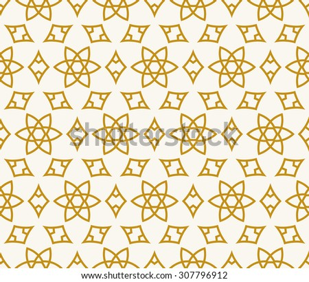 Seamless background in Arabic style. Gold stars patterns in white wallpaper for textile design. Traditional oriental decor - stock vector