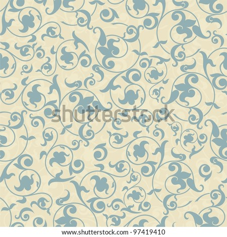 Seamless background in the style of blue damask - stock vector
