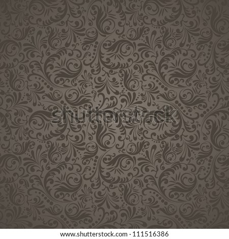 Seamless background in the style of damask brown - stock vector