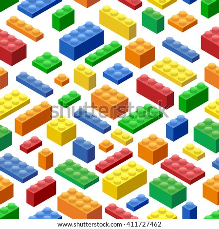 Seamless background. Isometric Plastic Building Blocks and Tiles - stock vector