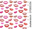 Seamless background lips, smiles - stock vector
