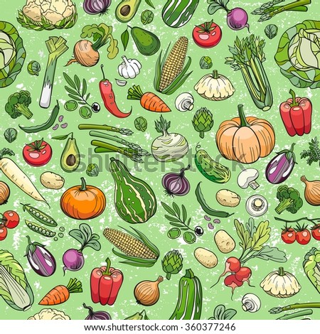 seamless background made of different hand drawn vegetables - stock vector