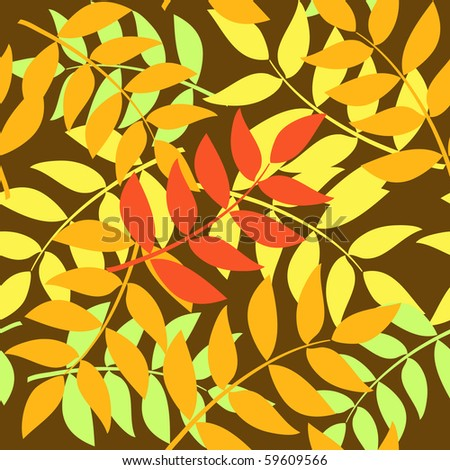 seamless background made of layered autumn leaves - stock vector