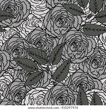 Seamless background. Monochrome roses with leaves. Vector illustration