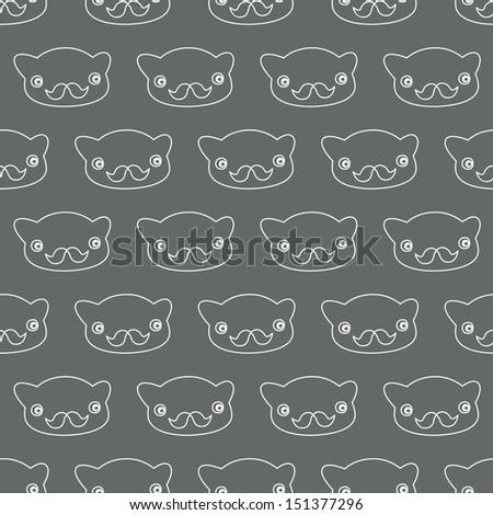 Seamless background. Monsters and freaks. Set 25. Bear-hipster. Black-white. Vector illustration - stock vector