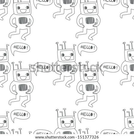 Seamless background. Monsters and freaks. Set 12. Robot. Black-white. Vector illustration - stock vector