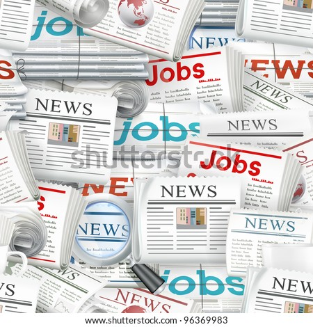 Seamless background newspaper, vector - stock vector